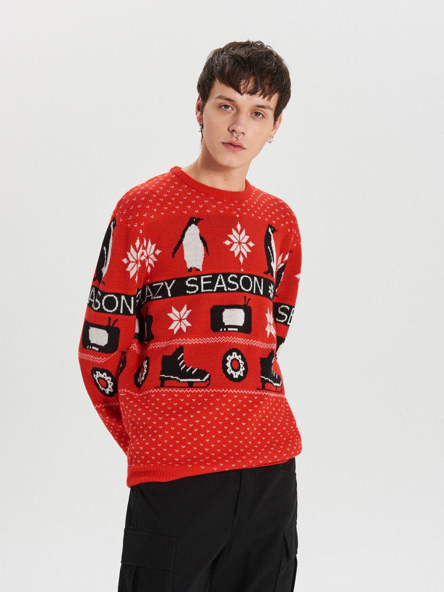 Sweter z zimowym motywem - CZERWONY - WG374-33X - Cropp - 3