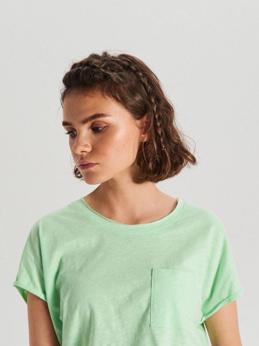 Koszulka z kieszenią - ZIELONY - WH164-70X - Cropp - 3