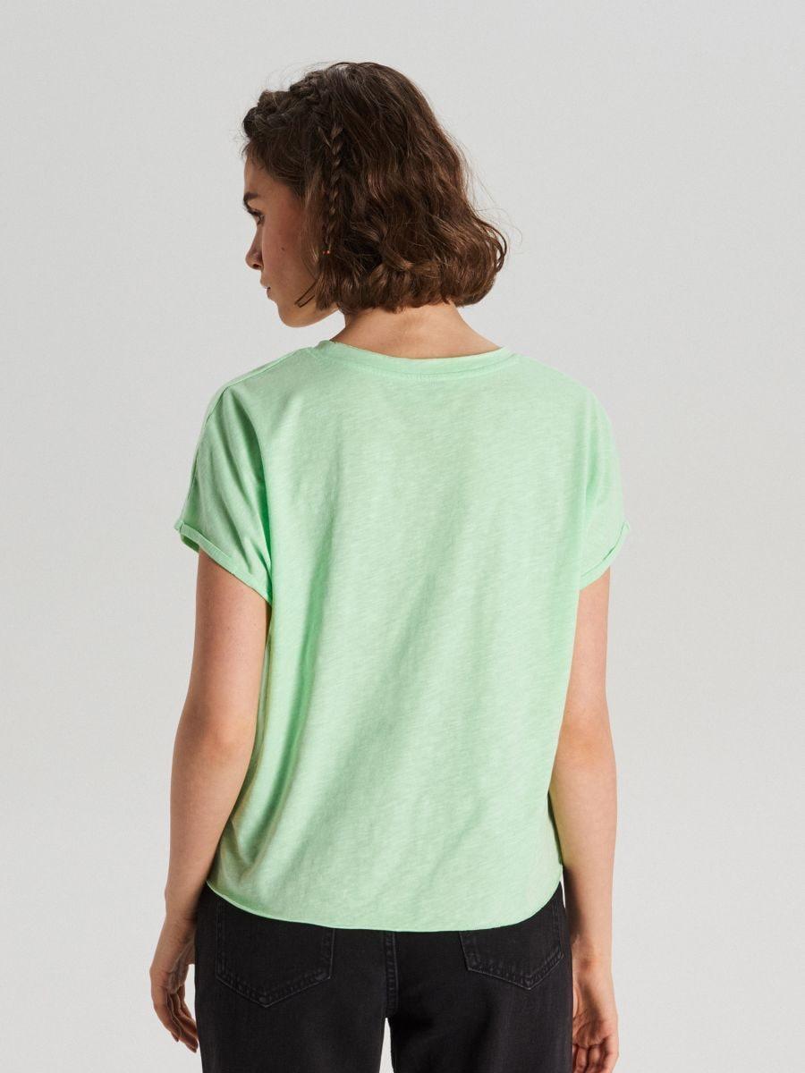 Koszulka z kieszenią - ZIELONY - WH164-70X - Cropp - 4