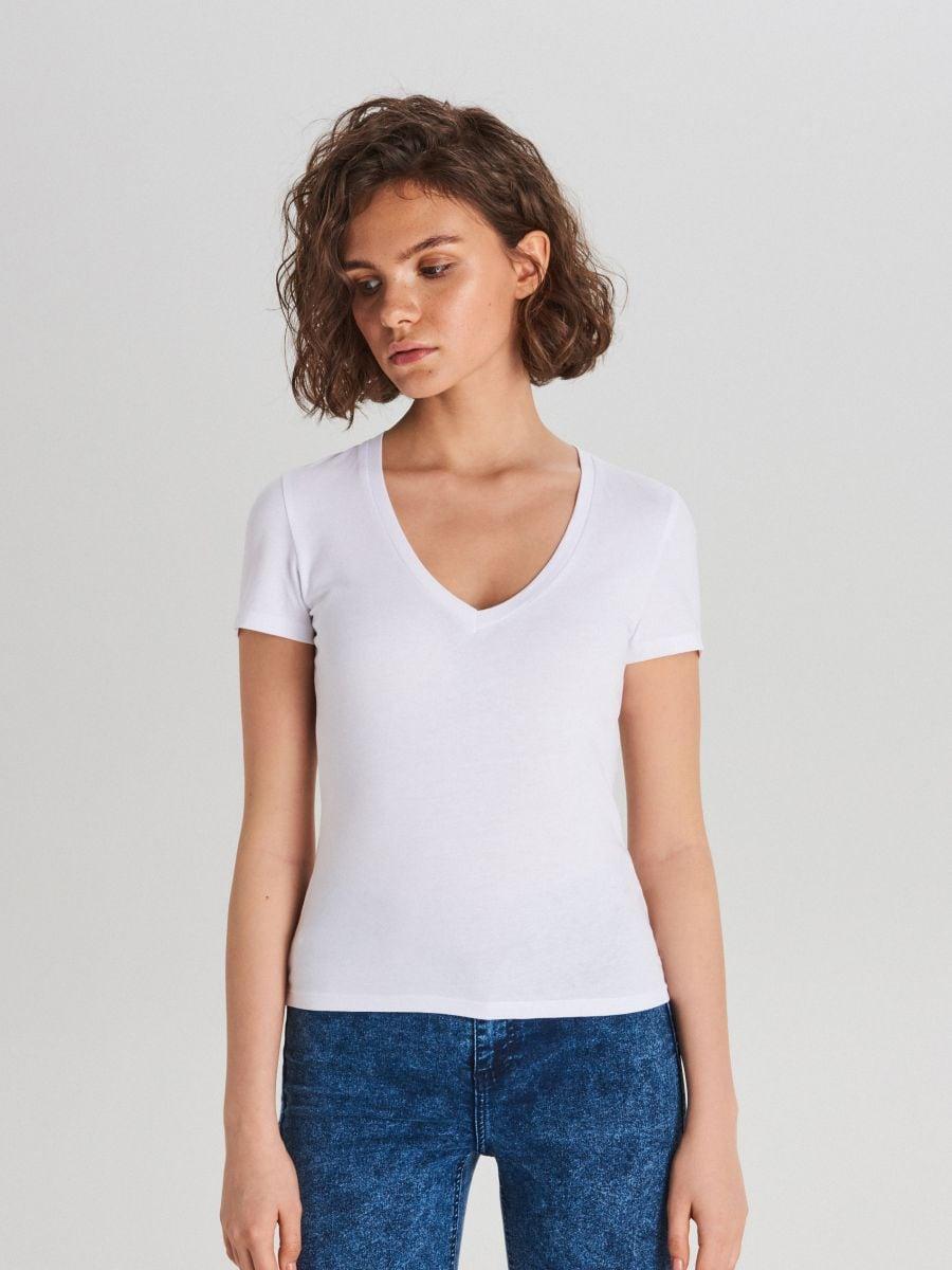 Gładka koszulka V neck - BIAŁY - WH168-00X - Cropp - 1