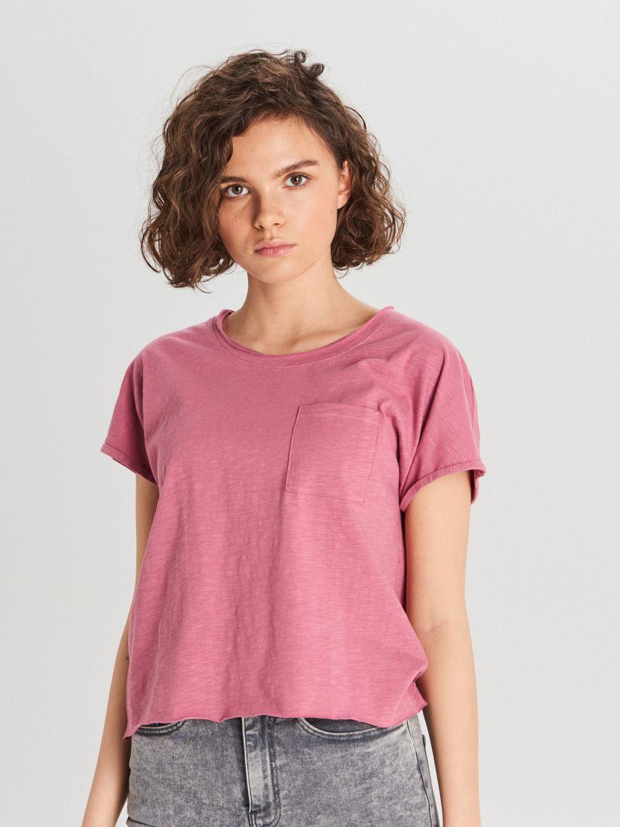 Koszulka z kieszenią - RÓŻOWY - WH173-40X - Cropp - 1