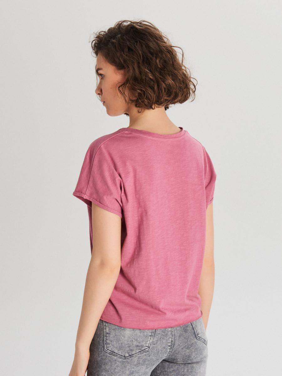 Koszulka z kieszenią - RÓŻOWY - WH173-40X - Cropp - 3