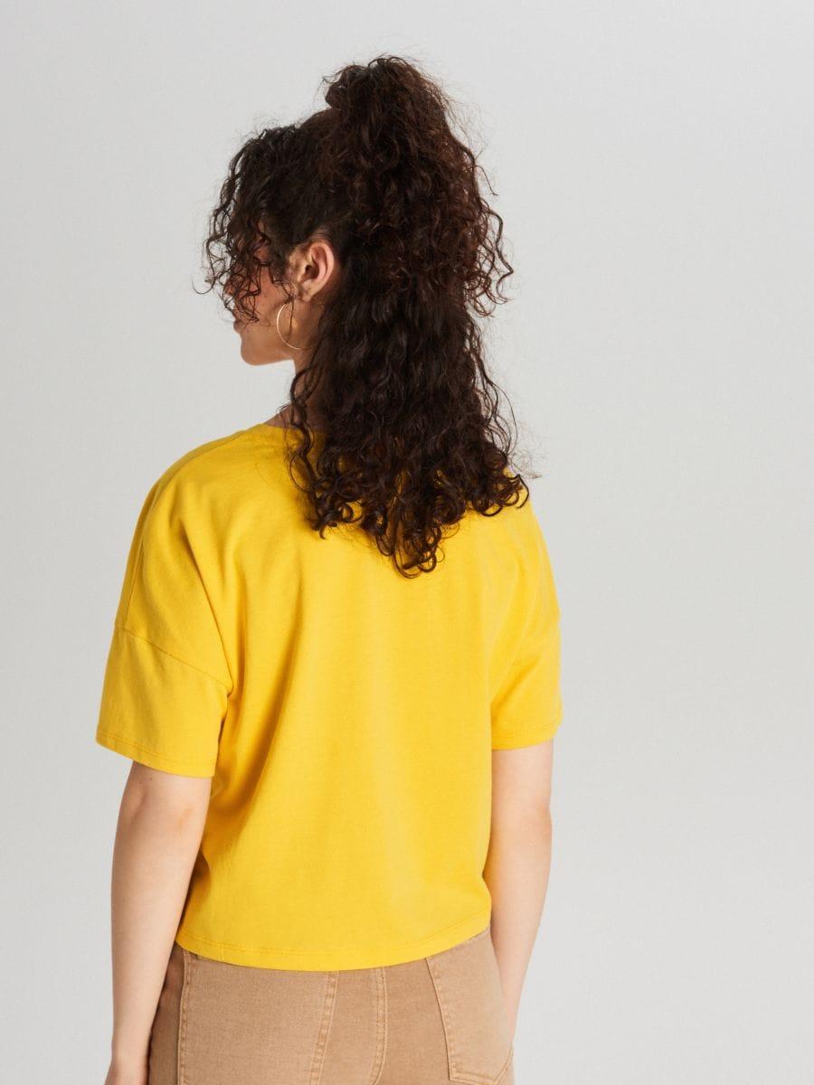 Koszulka z napisem - ŻÓŁTY - WH178-17X - Cropp - 4