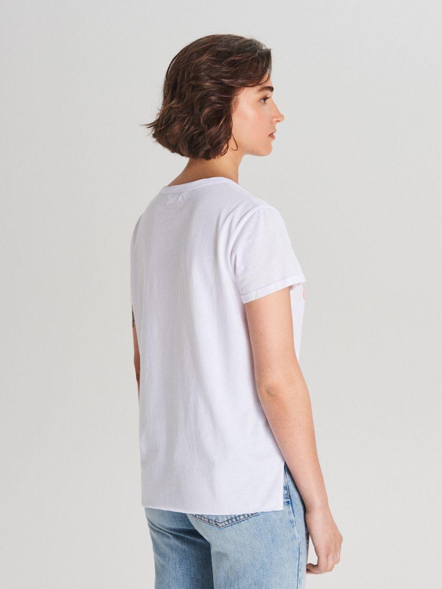 Koszulka z nadrukiem - BIAŁY - WH181-00X - Cropp - 4