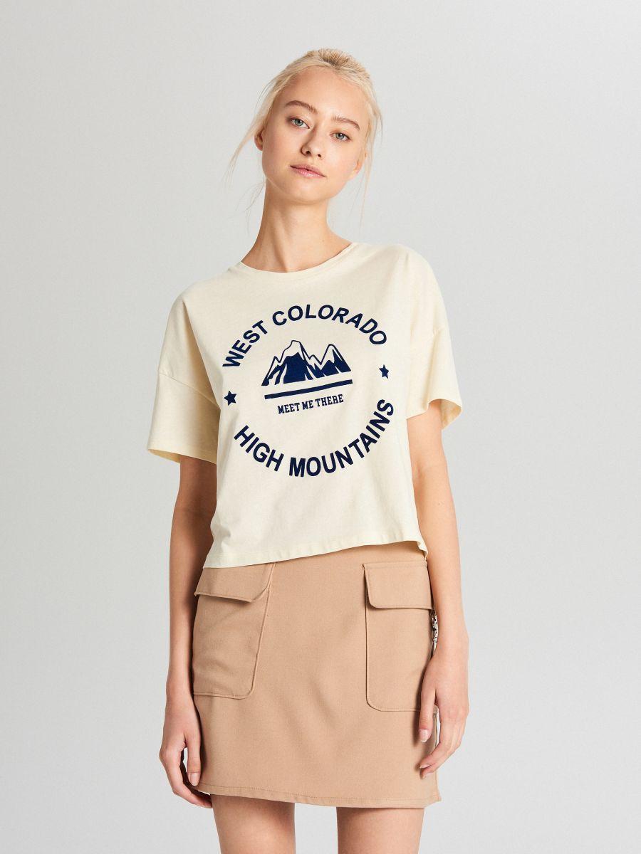 Koszulka oversize z nadrukiem - KREMOWY - WH704-02X - Cropp - 1