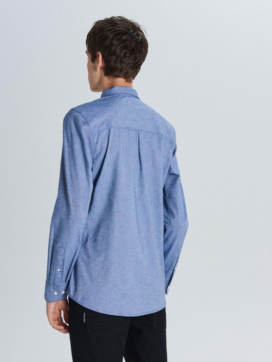Koszula slim z kieszenią - NIEBIESKI - WI200-55X - Cropp - 4