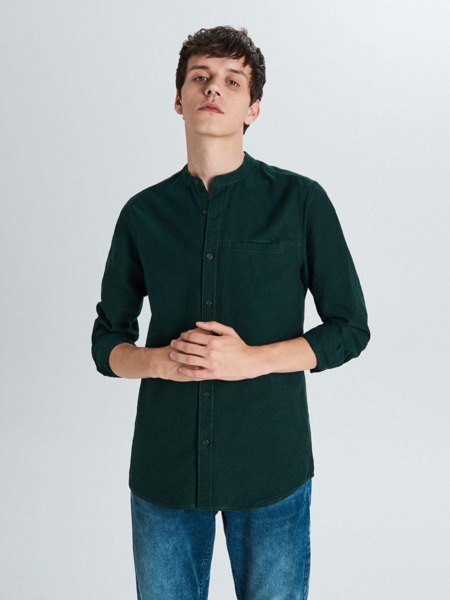 Gładka koszula typu collar band - KHAKI - WI201-79X - Cropp - 1