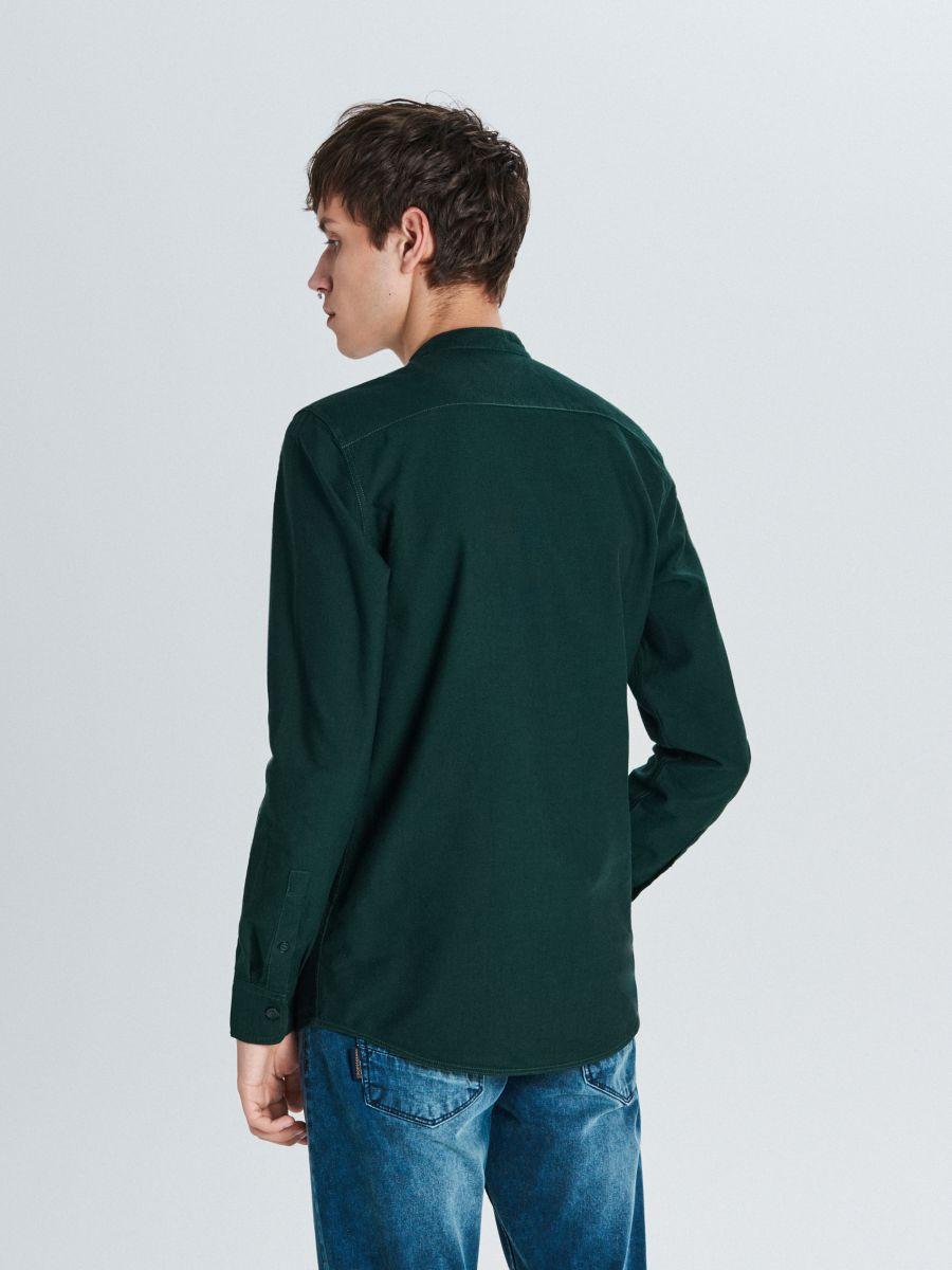 Gładka koszula typu collar band - KHAKI - WI201-79X - Cropp - 4