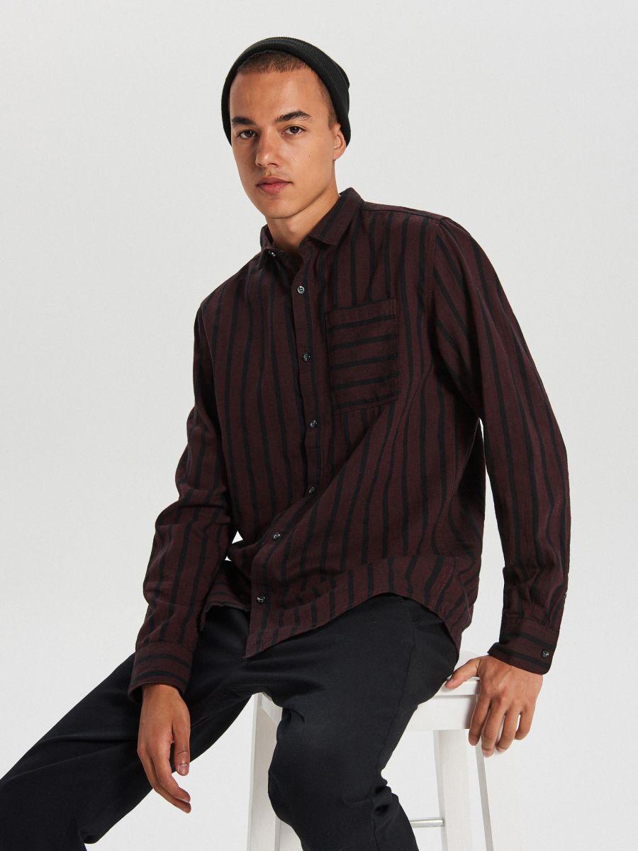 Koszula w paski - BORDOWY - WI206-83X - Cropp - 1