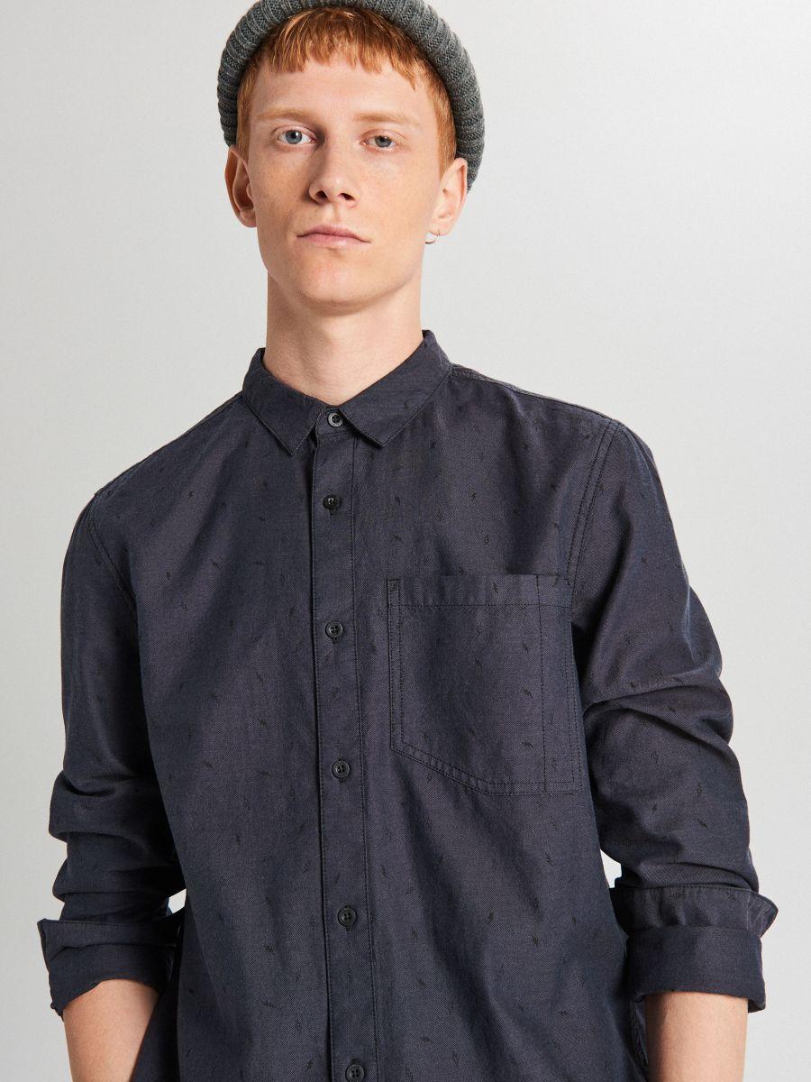 Koszula z mikrowzorem - SZARY - WI208-90X - Cropp - 1
