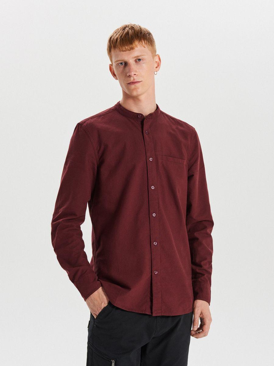 Gładka koszula o kroju slim - BORDOWY - WI222-83X - Cropp - 1