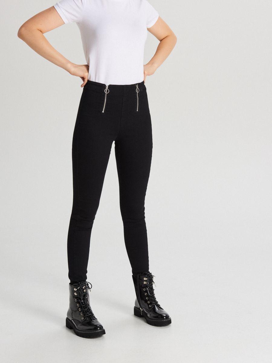 Jeansy skinny z zamkami - CZARNY - WI379-99J - Cropp - 2