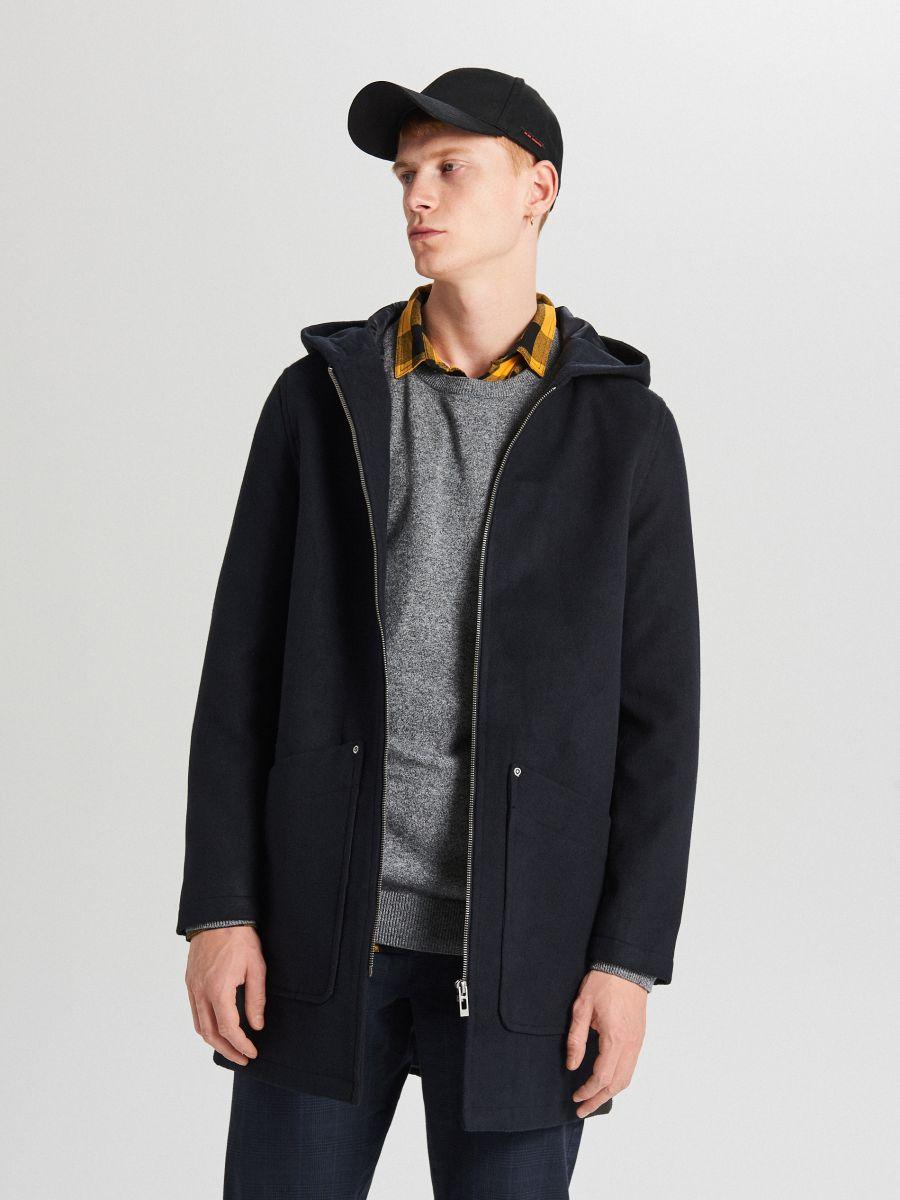 Lekki płaszcz z kapturem - GRANATOWY - WL843-59X - Cropp - 1