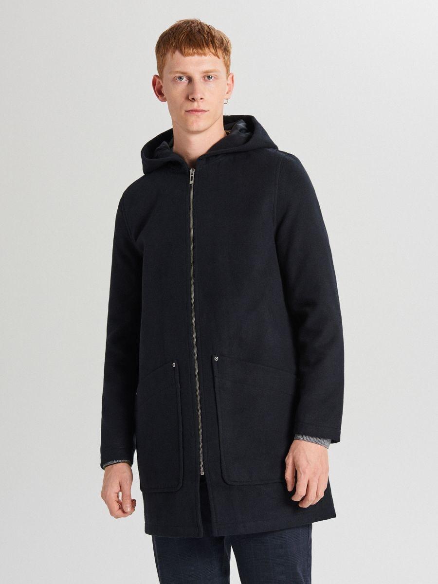 Lekki płaszcz z kapturem - GRANATOWY - WL843-59X - Cropp - 3