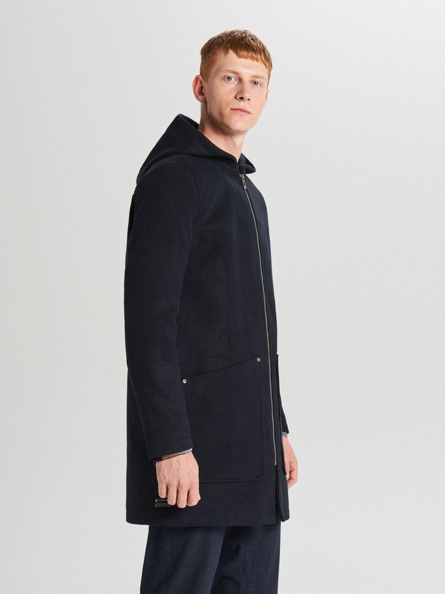 Lekki płaszcz z kapturem - GRANATOWY - WL843-59X - Cropp - 4