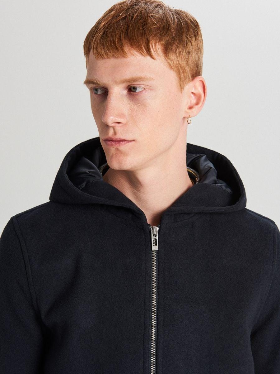 Lekki płaszcz z kapturem - GRANATOWY - WL843-59X - Cropp - 6