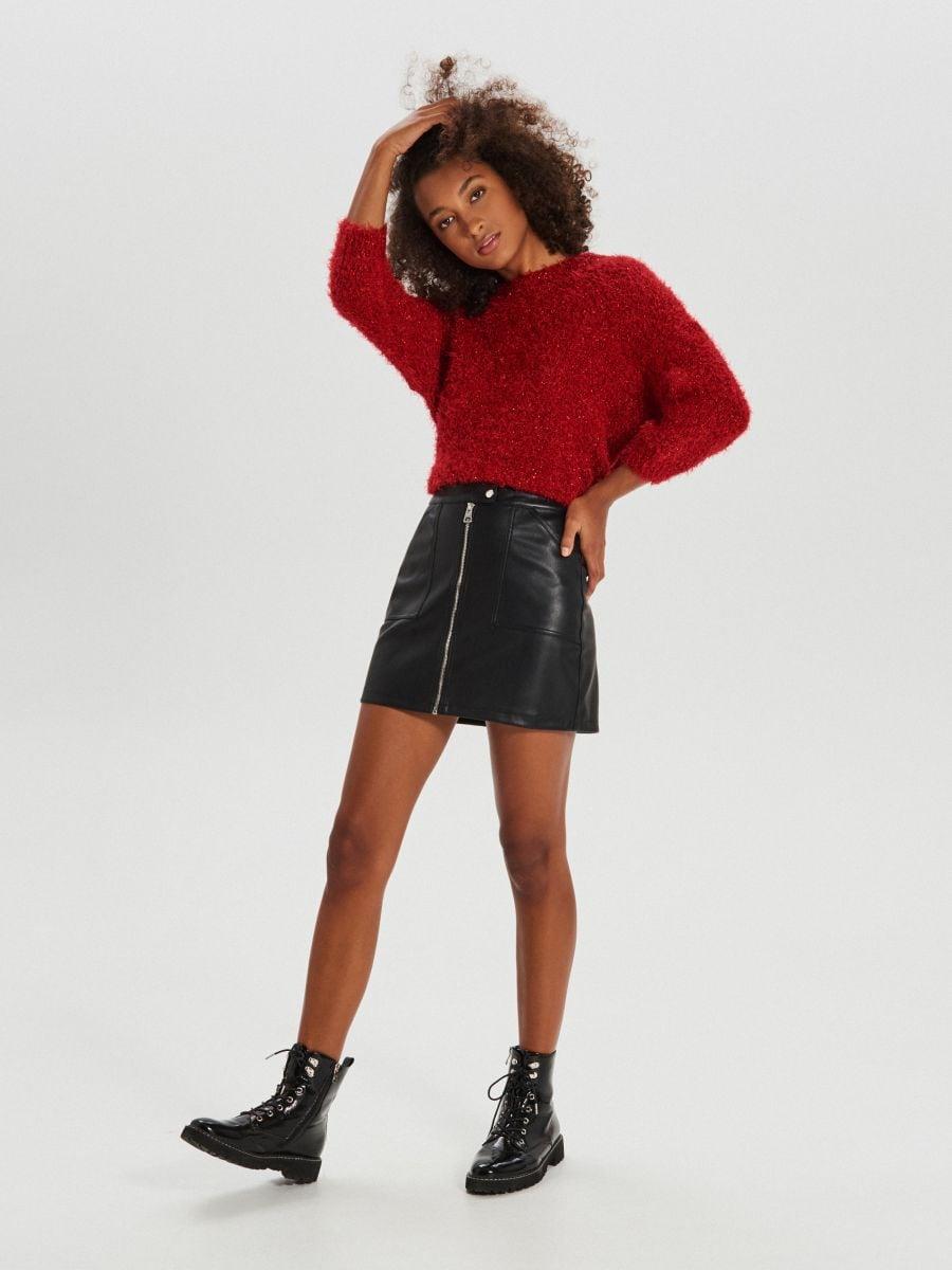 Puszysty sweter oversize - CZERWONY - WM673-33X - Cropp - 1