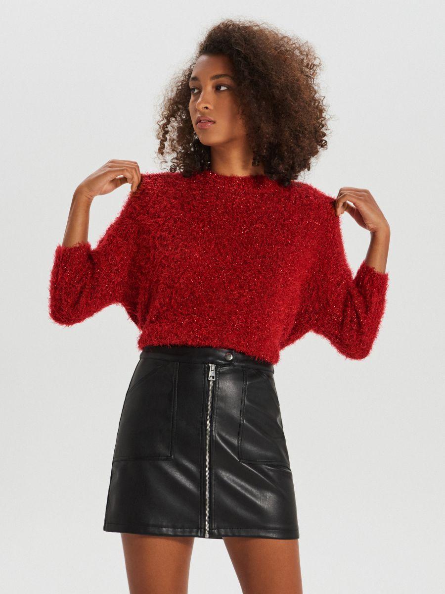 Puszysty sweter oversize - CZERWONY - WM673-33X - Cropp - 3
