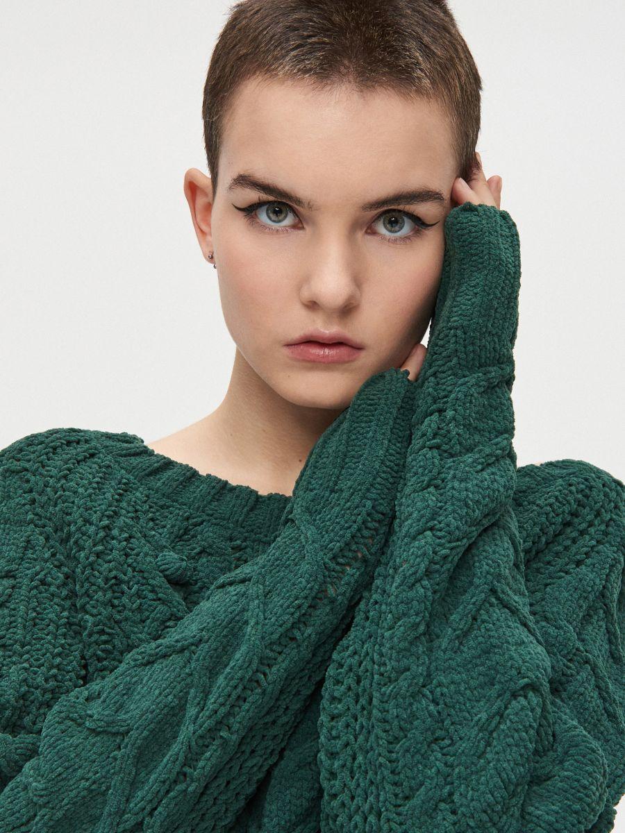 Sweter z pomponami - ZIELONY - WM675-77X - Cropp - 1