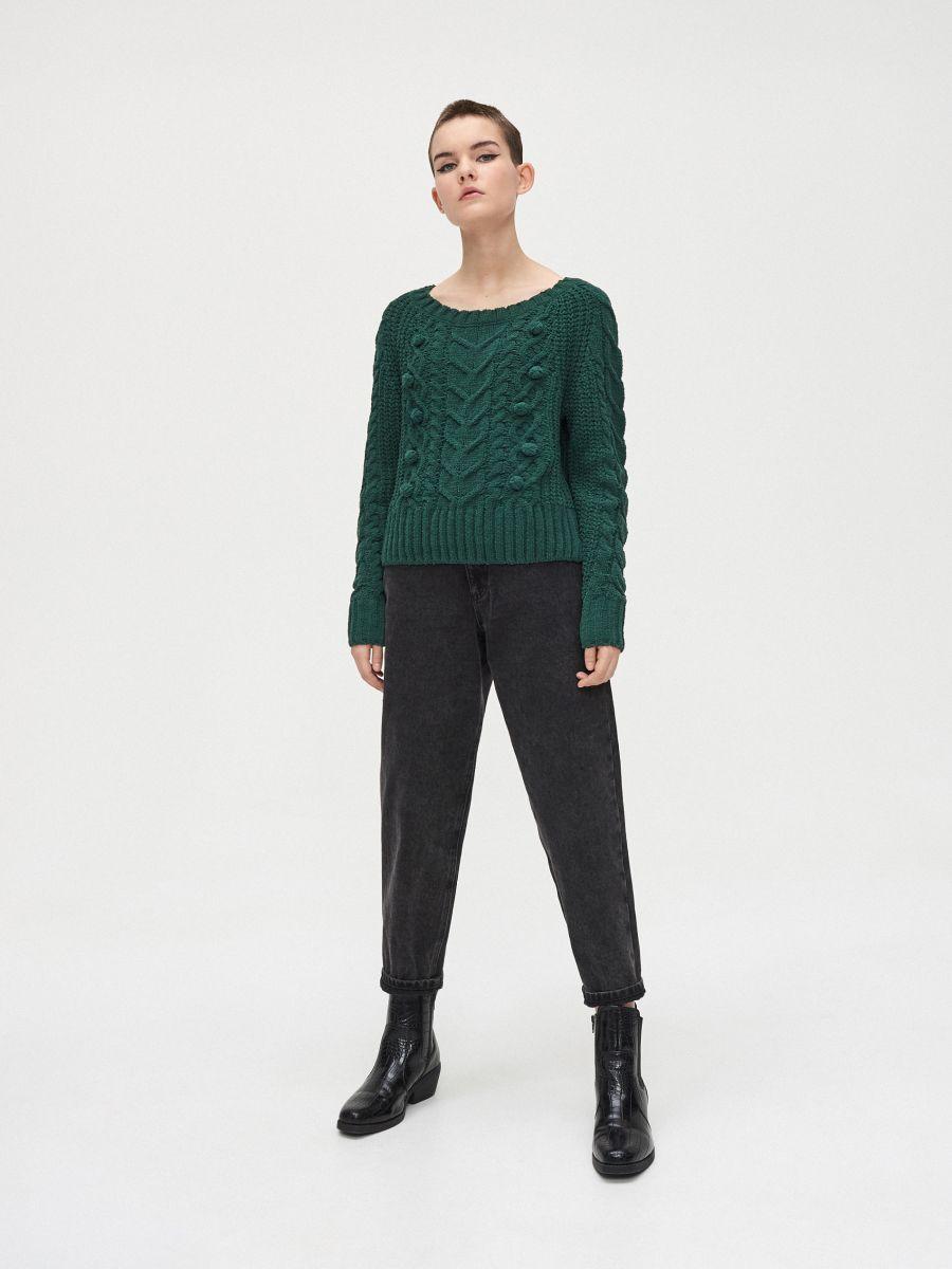 Sweter z pomponami - ZIELONY - WM675-77X - Cropp - 2