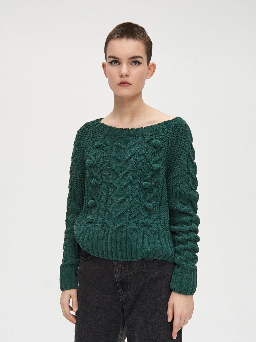 Sweter z pomponami - ZIELONY - WM675-77X - Cropp - 3