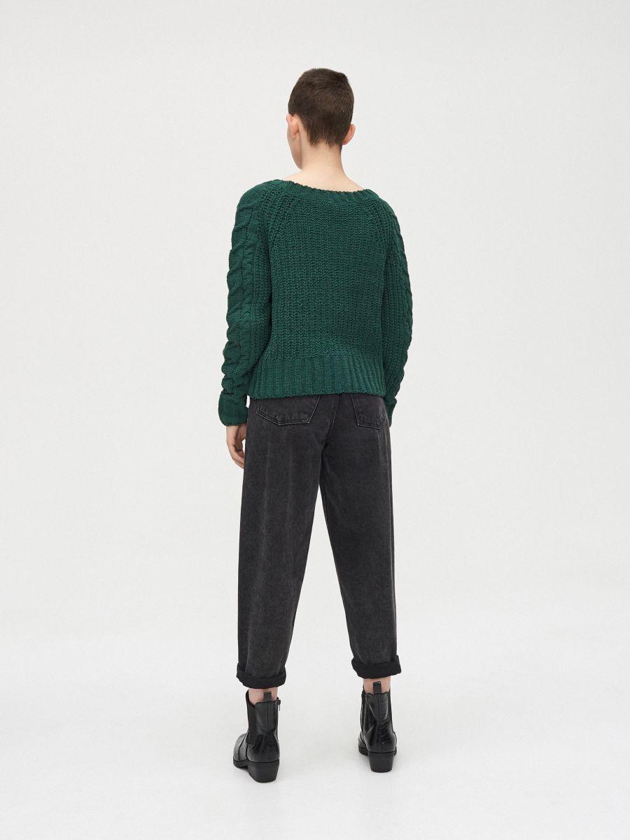 Sweter z pomponami - ZIELONY - WM675-77X - Cropp - 4