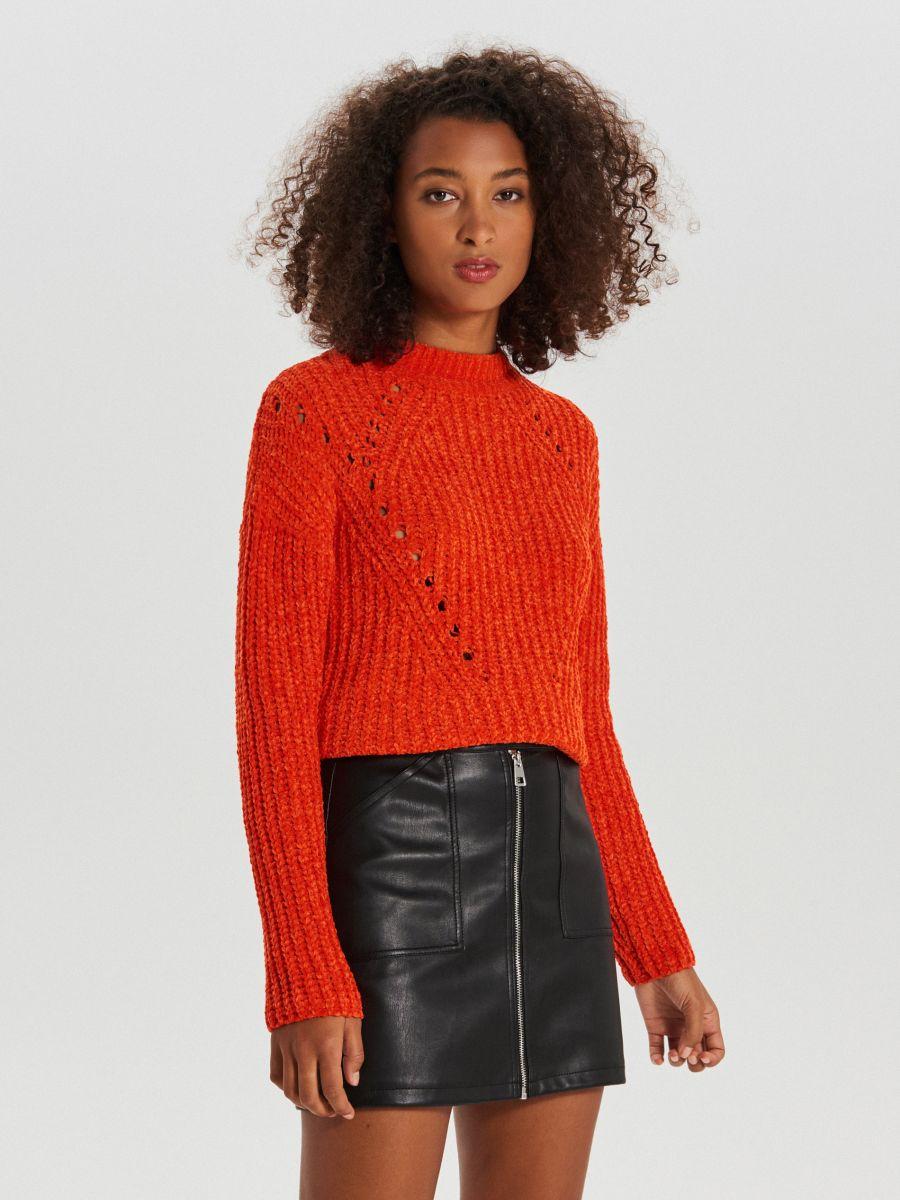 Sweter z ozdobnym splotem - POMARAŃCZOWY - WM677-23X - Cropp - 3