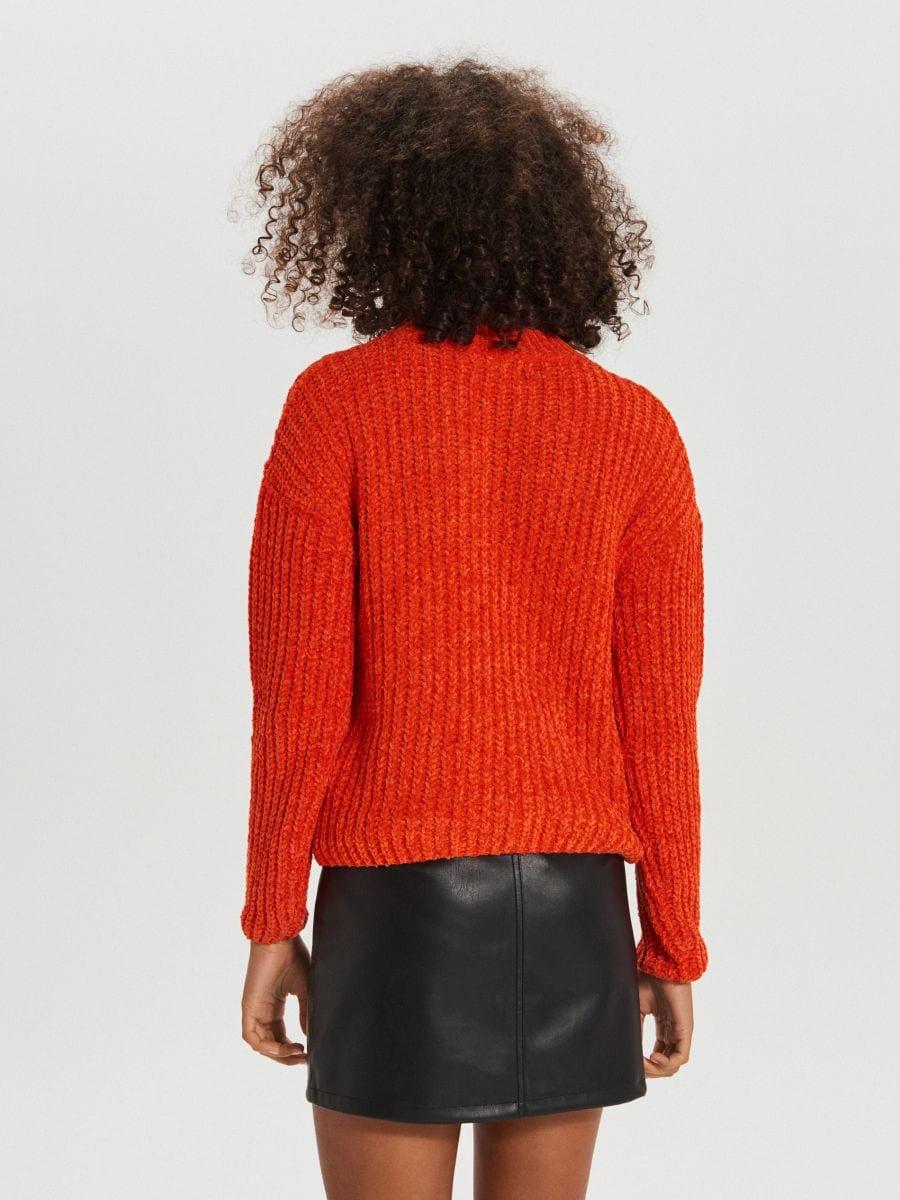 Sweter z ozdobnym splotem - POMARAŃCZOWY - WM677-23X - Cropp - 4