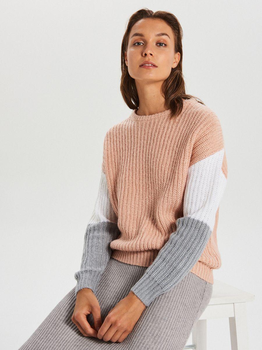 Kolorowy sweter - JASNY SZARY - WM681-09X - Cropp - 1