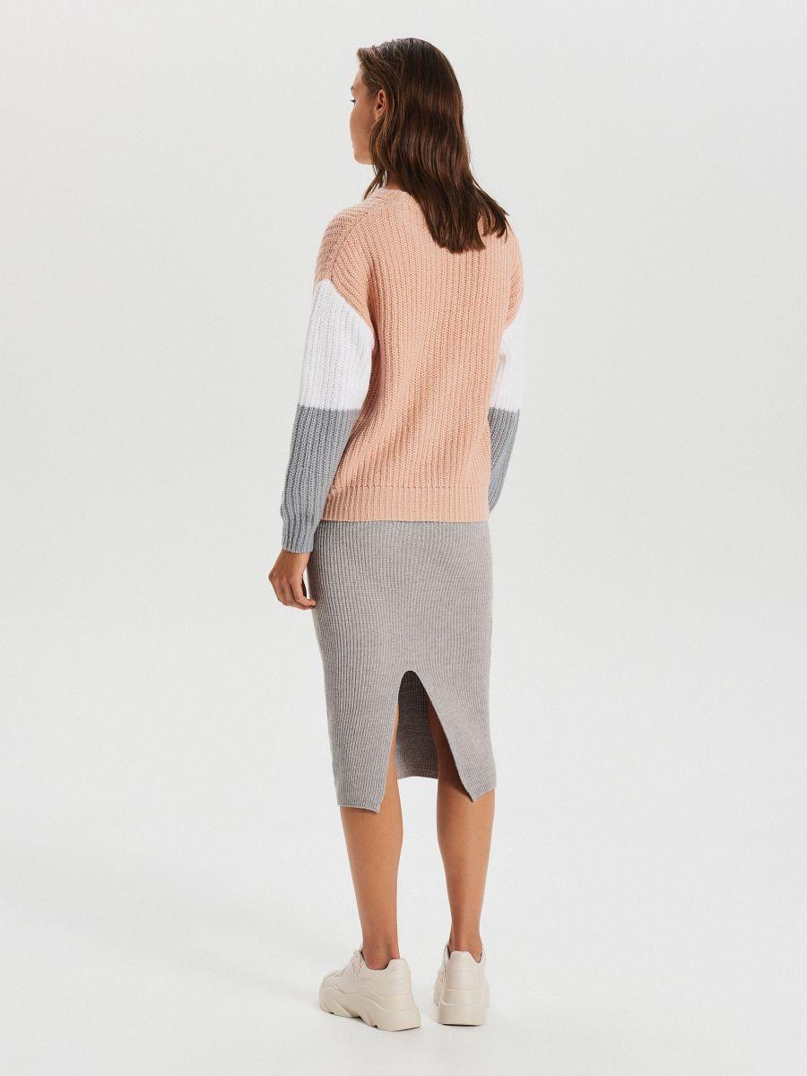 Kolorowy sweter - JASNY SZARY - WM681-09X - Cropp - 4