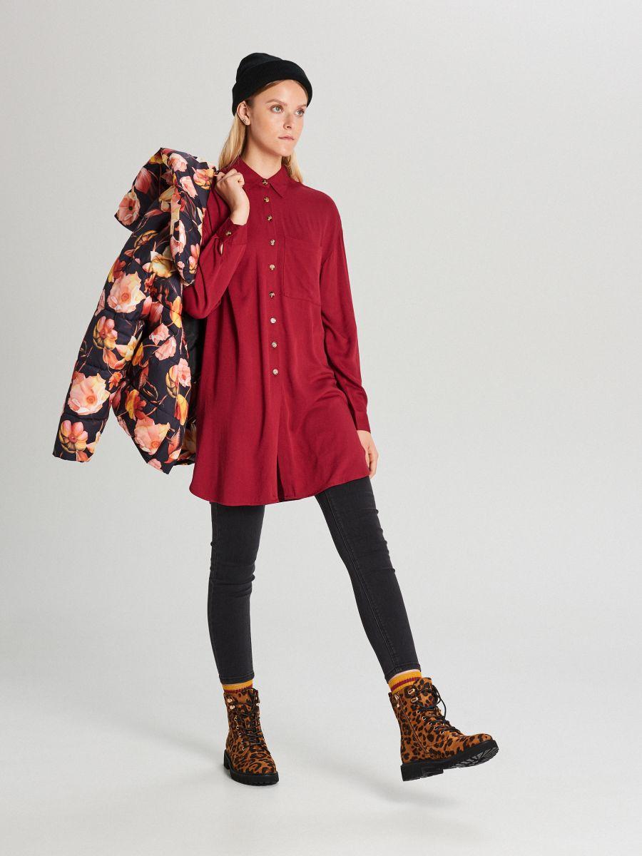 Długa koszula oversize - BORDOWY - WQ057-83X - Cropp - 1