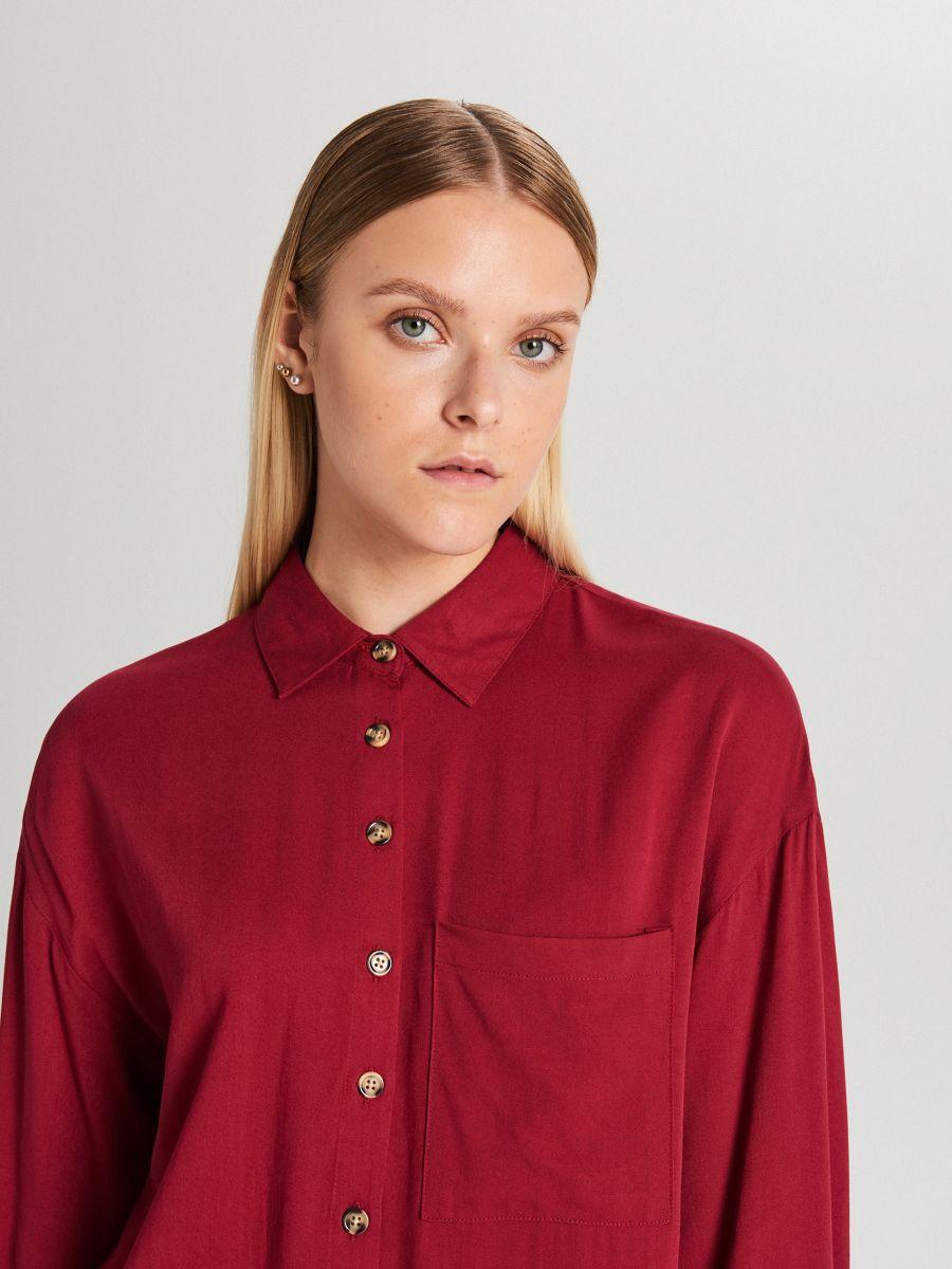 Długa koszula oversize - BORDOWY - WQ057-83X - Cropp - 2