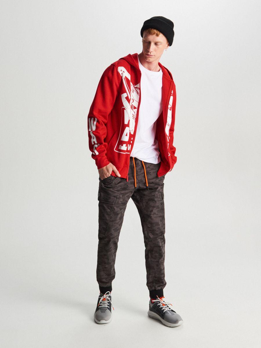 Bluza z kontrastowym nadrukiem - CZERWONY - WR620-33X - Cropp - 2