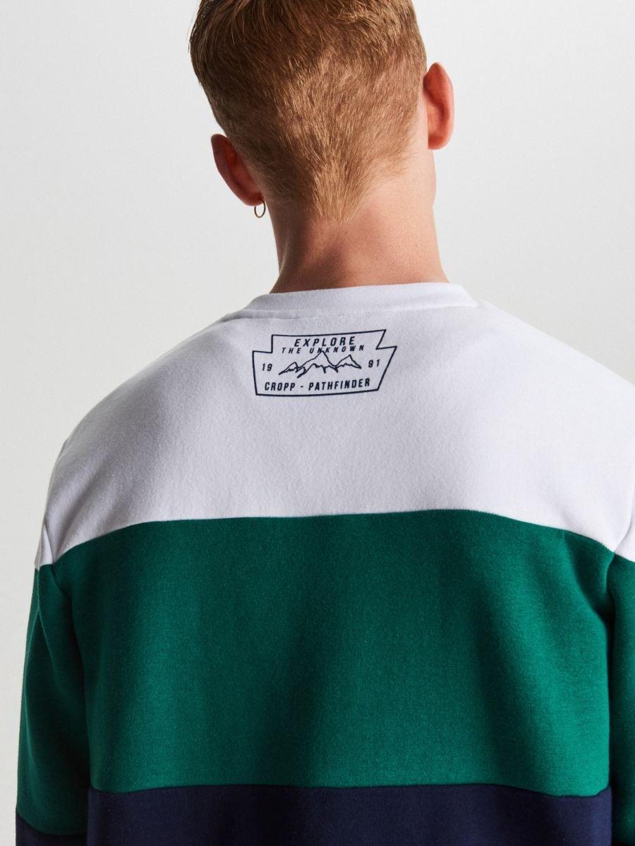 Trójkolorowa bluza z nadrukiem - GRANATOWY - WR632-59X - Cropp - 1