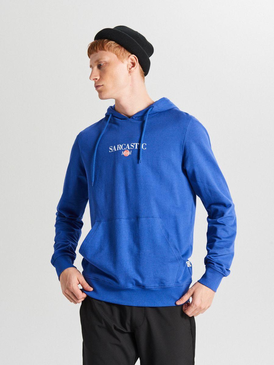 Bluza z kapturem basic - FIOLETOWY - WR641-45X - Cropp - 1