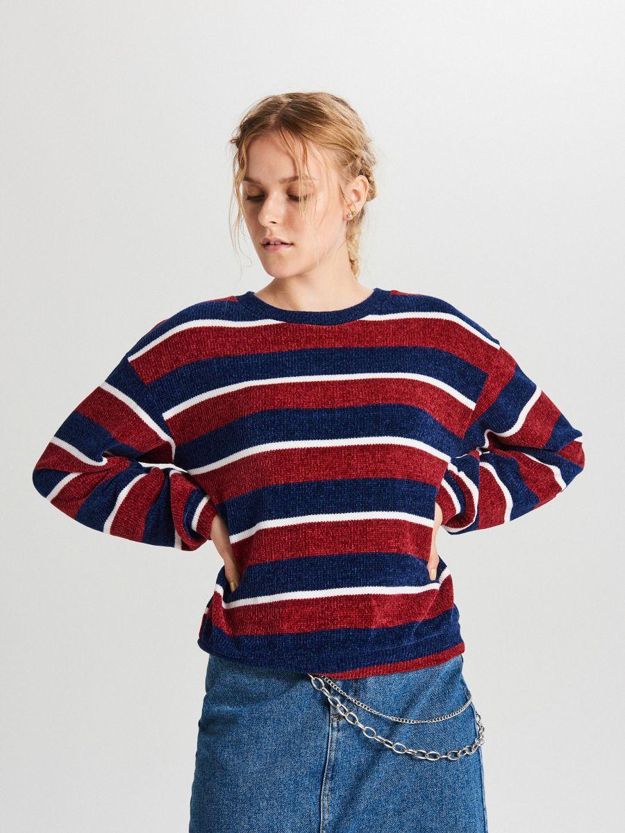 Sweter w paski - GRANATOWY - WR726-59X - Cropp - 1