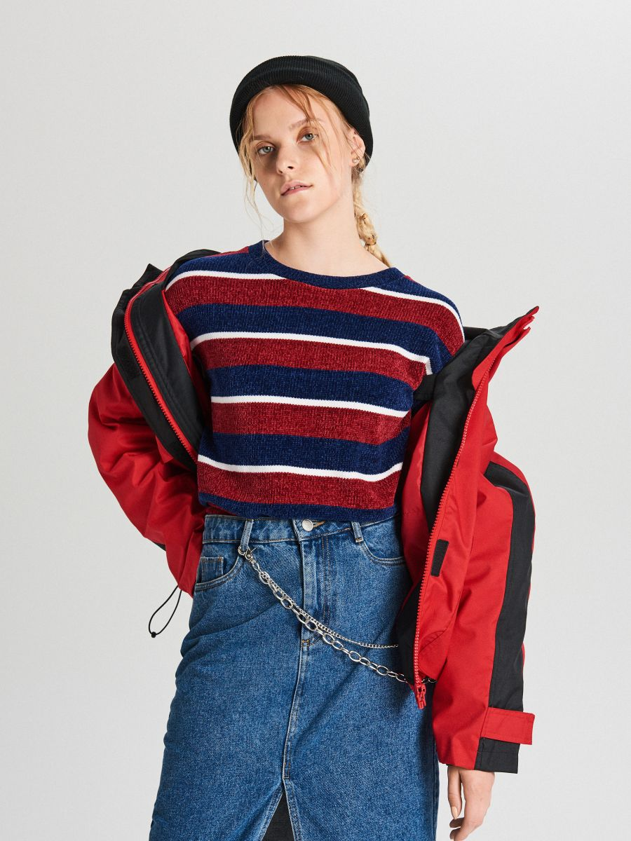 Sweter w paski - GRANATOWY - WR726-59X - Cropp - 2