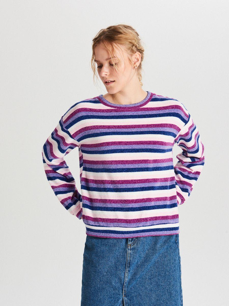 Sweter w paski - WIELOBARWNY - WR726-MLC - Cropp - 1
