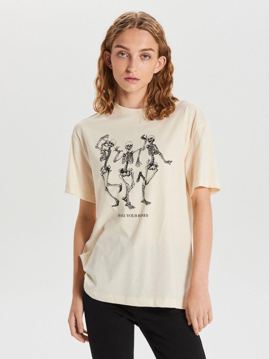 Koszulka z nadrukiem Kremowy