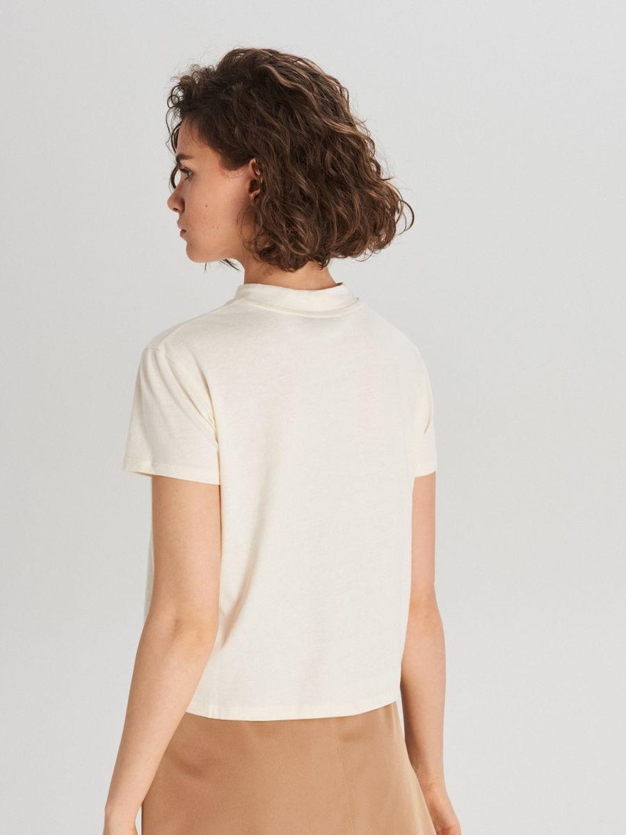 Koszulka basic turtle neck - KREMOWY - WV244-01X - Cropp - 3