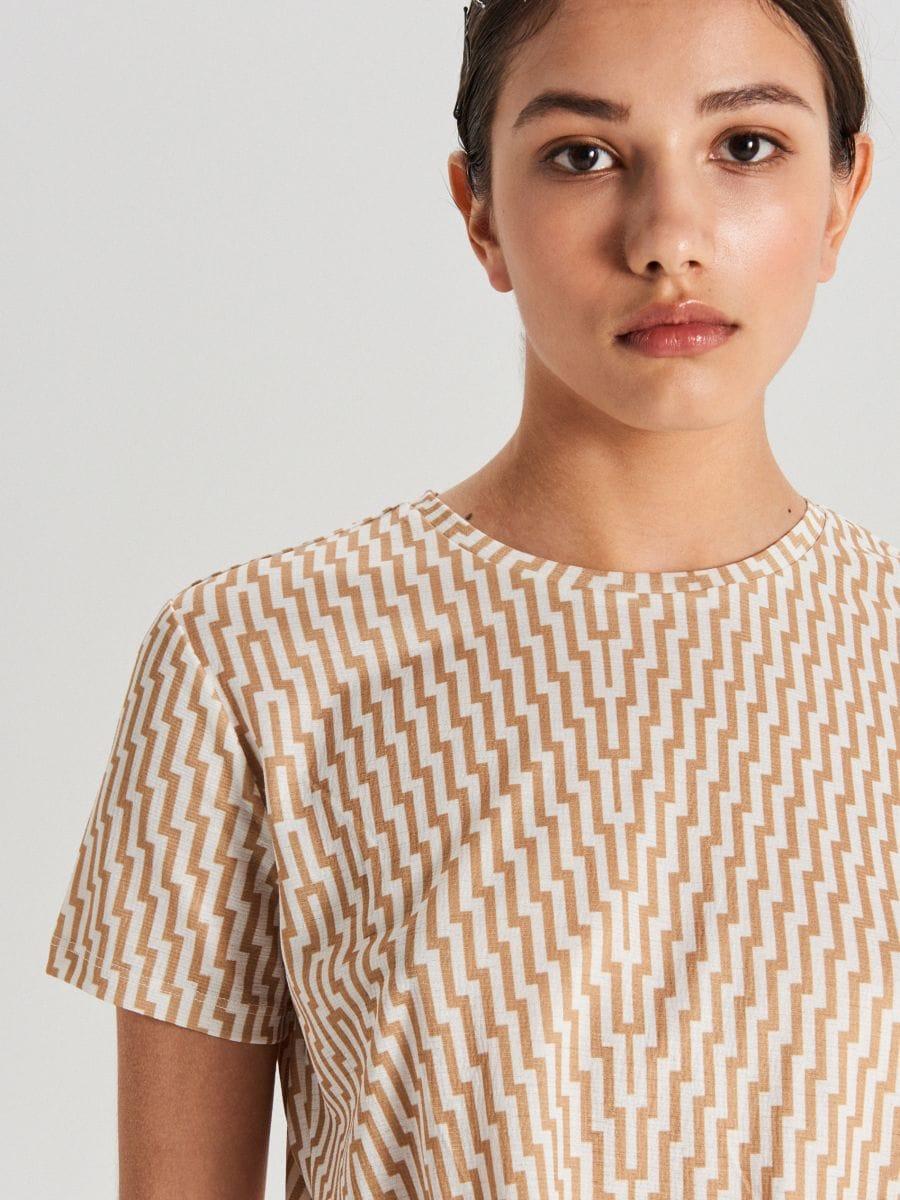 Koszulka z wiązaniem - BIAŁY - WV265-00X - Cropp - 3