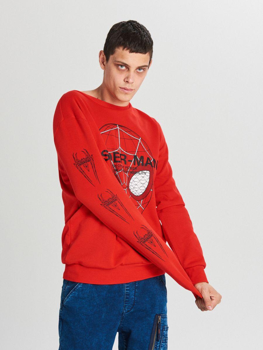 Bluza Spiderman - CZERWONY - WX639-33X - Cropp - 2