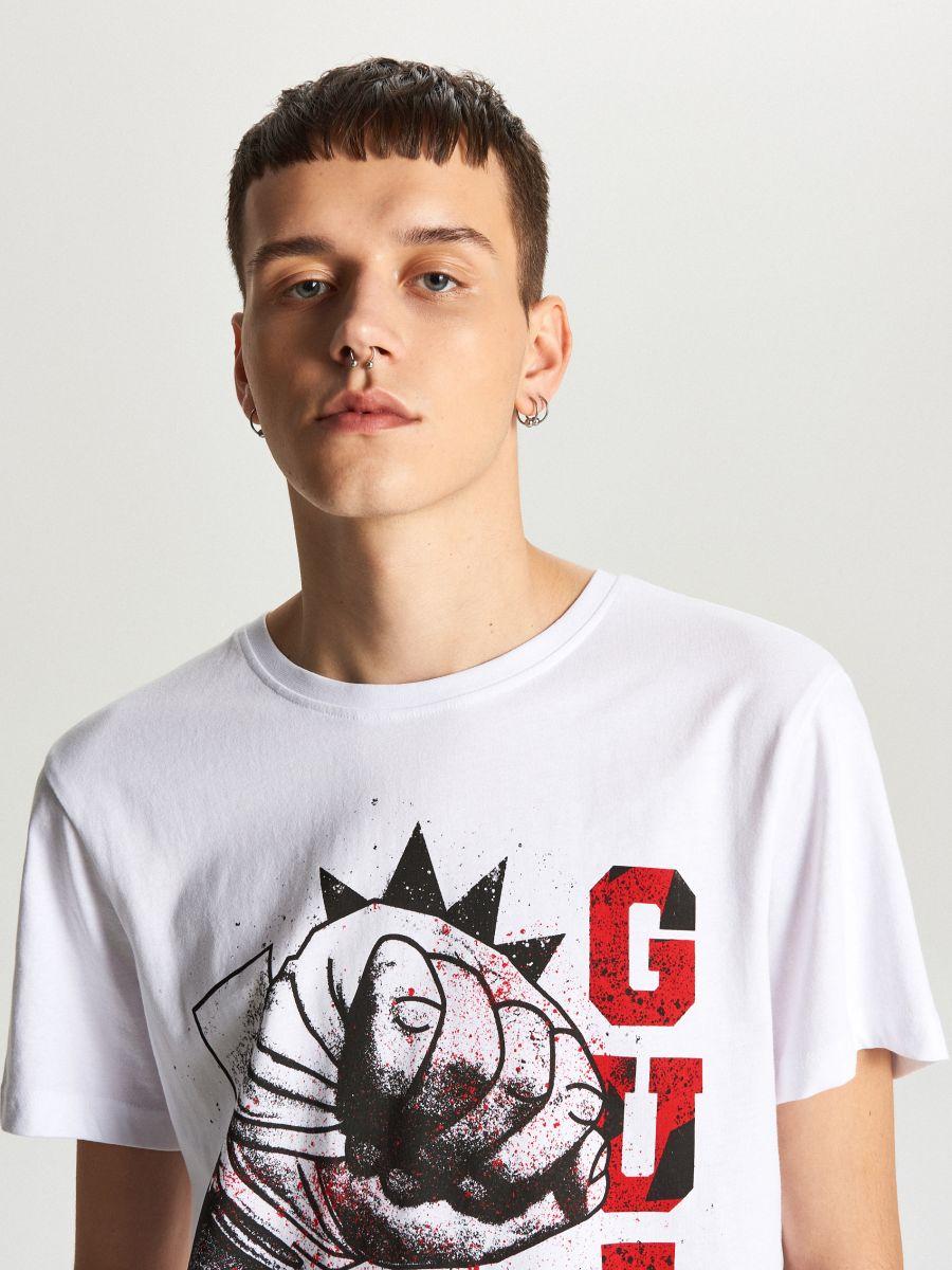Koszulka z nadrukiem - BIAŁY - WY337-00X - Cropp - 4