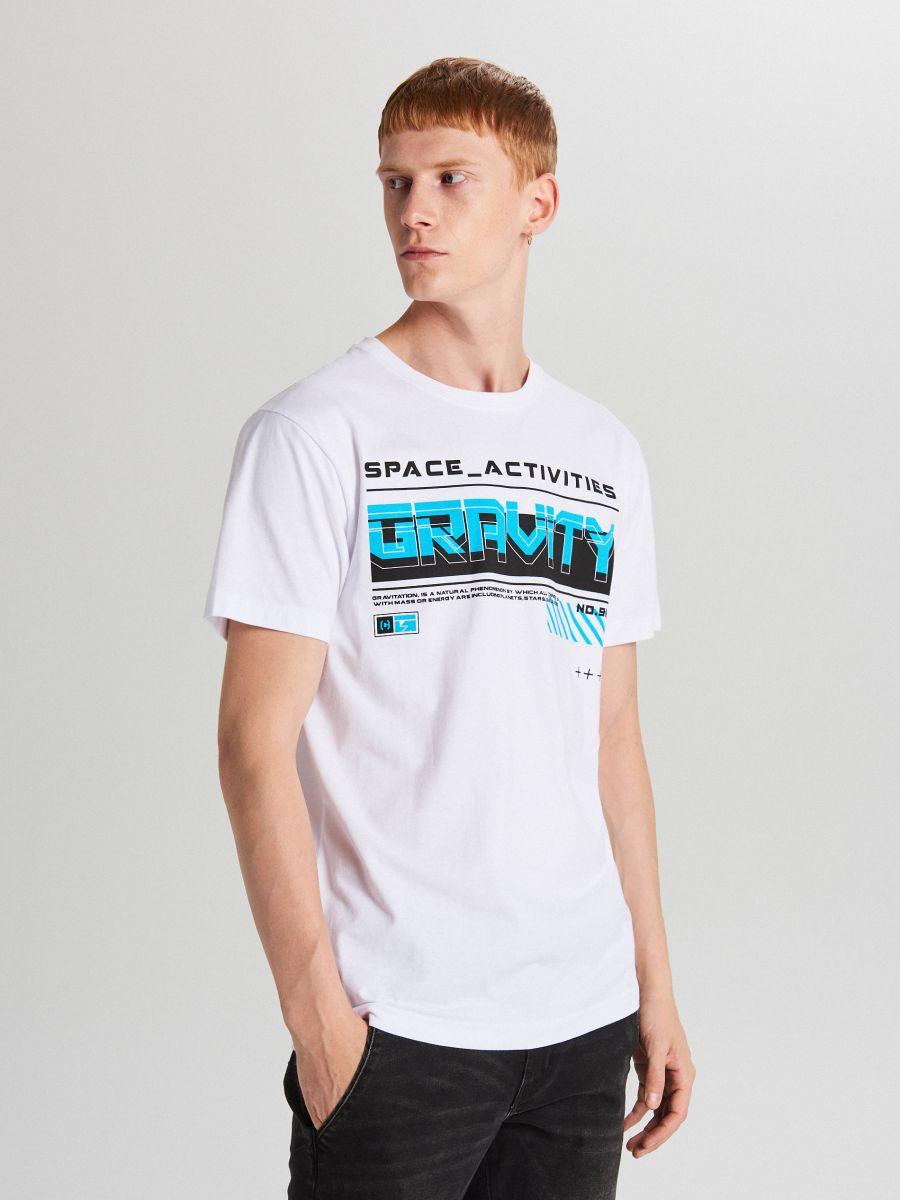 Koszulka z napisem - BIAŁY - WY446-00X - Cropp - 2