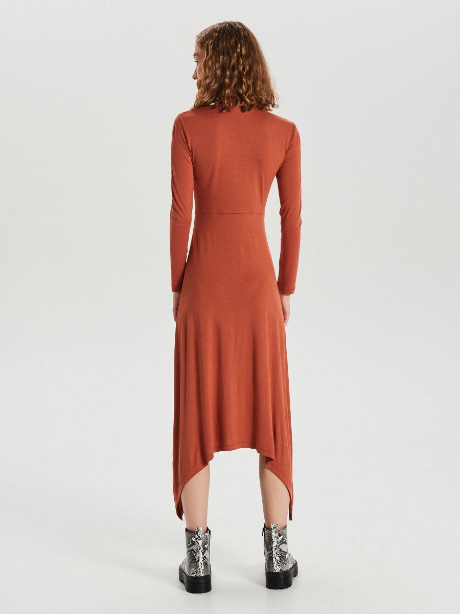 Asymetryczna sukienka midi - BORDOWY - WY842-92X - Cropp - 6