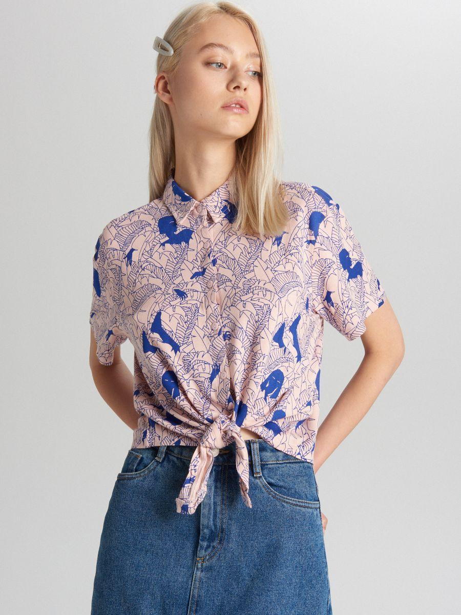 Bluzka koszulowa z wiązaniem, CROPP  Z4YdM