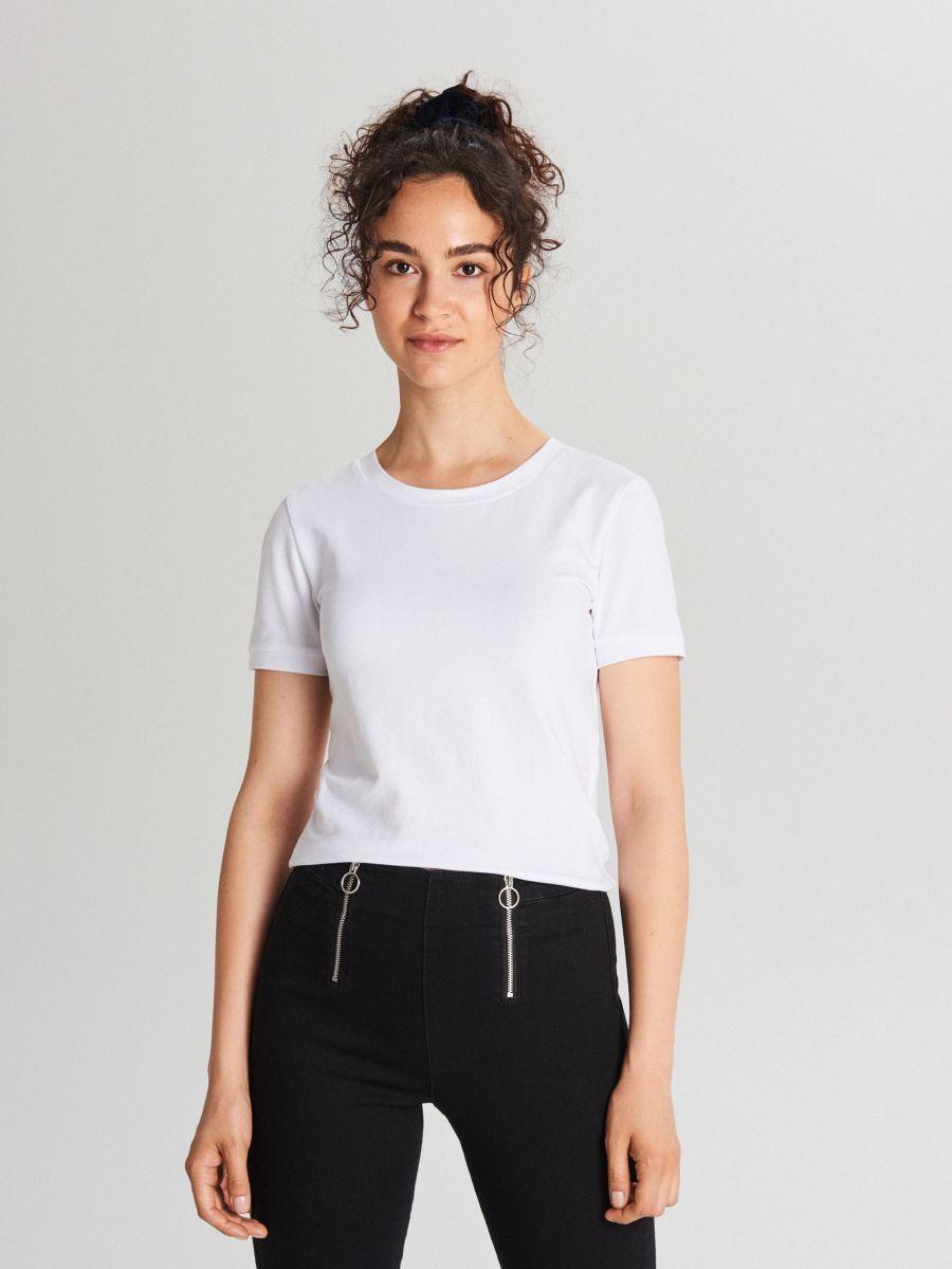 Koszulka basic z krótkim rękawem - BIAŁY - XB123-00X - Cropp - 1