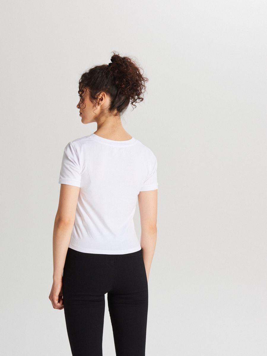 Koszulka basic z krótkim rękawem - BIAŁY - XB123-00X - Cropp - 3