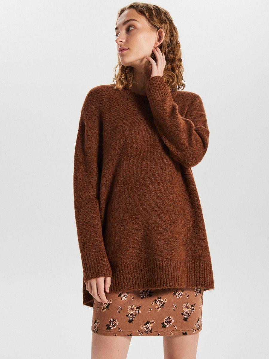 Gładki sweter oversize - BORDOWY - XB291-88M - Cropp - 2