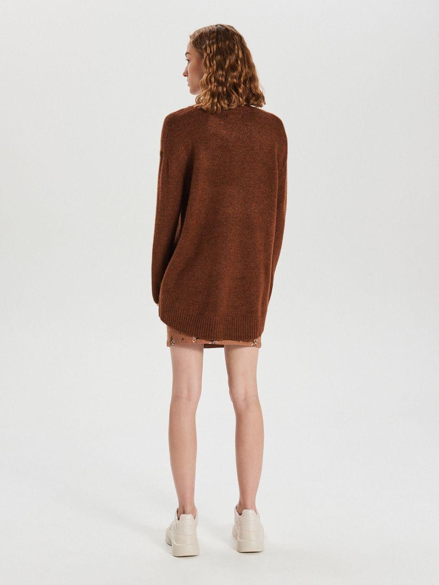 Gładki sweter oversize - BORDOWY - XB291-88M - Cropp - 5